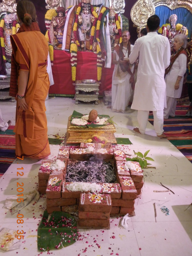 The ceremonial fire from the Celestial Marriage, one of a number of different homas and pujas.